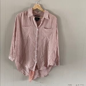 Sam Edelman pink and white striped lace back top